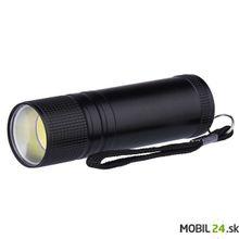 LED svietidlo kovové, 3W COB LED, na 3x AAA, čierne