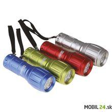 LED svietidlo kovové, 9x LED, na 3x AAA, strieborné