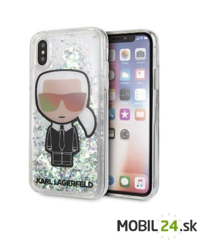Puzdro Karl Lagerfeld iPhone X/XS Signature Liquid Glitter KARL